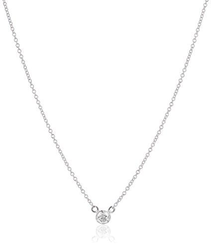 14k White Gold Bezel Set Solitaire Adjustable Pendant Necklace (1/10cttw, K-L Color, I2-I3 Clarity), 16