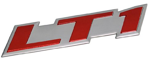ERPART LT1 Embossed RED on Silver Real Aluminum Auto Emblem Badge Nameplate Compatible with Chevy Corvette Buick Camaro Pontiac Trans AM Caprice SS Impala Cadillac Pontiac Firebird Z28
