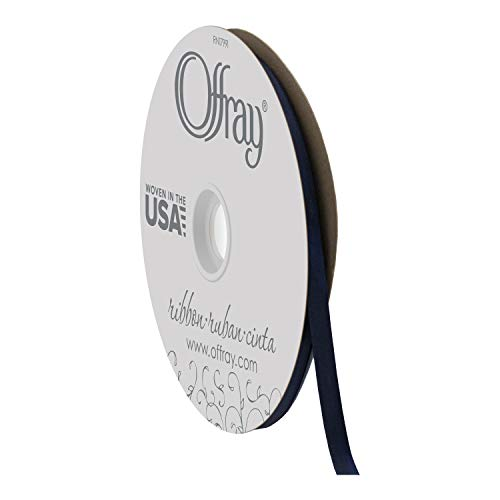 "Offray Berwick 3/8"" Wide Double Face Satin Ribbon, Navy Blue, 100 Yds"
