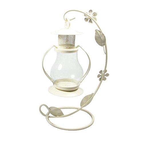 Highpot Romantic Candlestick Vintage Candle Holder European Style Metal Pillar Candelabra Wedding Gift Home Party Wedding Home Decor (White)