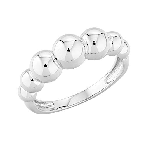 MiaBella Italian 925 Sterling Silver Graduated Bead Ball Ring Jewelry for Women Teens Girls sz 5-6-7-8-9-10 (Sterling-Silver, 5)