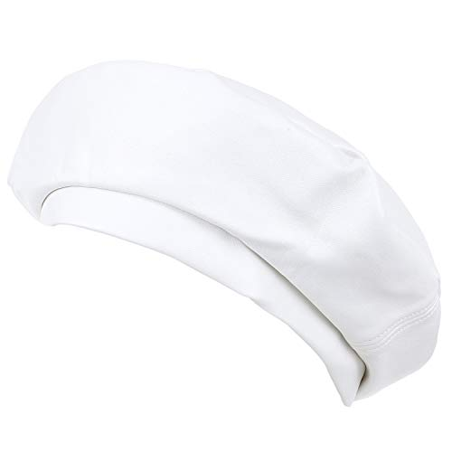 ililily Solid Color Faux Leather French Beret Furry Artist Flat Winter Hat, White