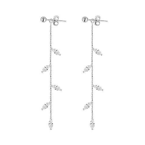 (CZ Leaf Chandelier Dangle Studs Earrings for Women Girls S925 Sterling Silver Crystal Leaves Tassel Chain Drop Crawler Ball Bead Cuff Climber Diamond Post Charm Huggie Pierced Hypoallergenic Jewelry)