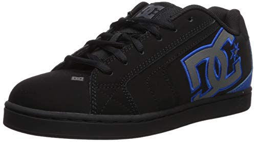 DC Men's NET Skate Shoe, Black/Grey/Blue, 10.5 M US