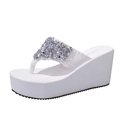 Duseedik Summer Slippers for Women's, Rhinestone Wedges Flip Flops Ladies Fashion Clip Toe Beach Shoe White ()
