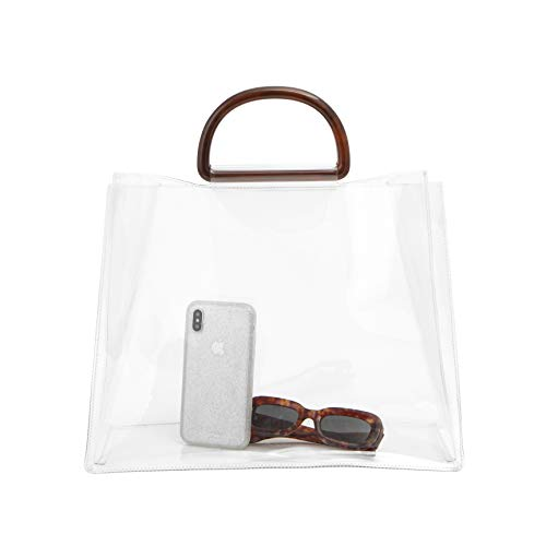 Pvc Fashion Bag - Sonix Transparent Tort Large Tote Bag [Heavyweight Clear PVC with Premium Tortoiseshell Half Moon Top Handles] (Large)