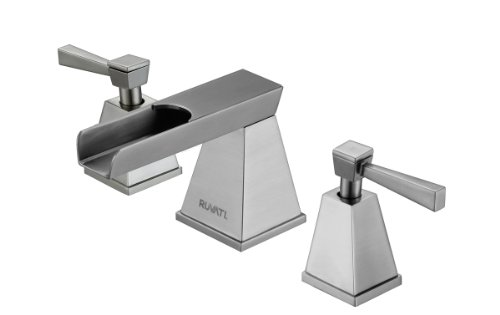 Ruvati RVF5110BN Waterfall 8-15 Widespread Two Handle Bathroom Faucet, Brushed Nickel