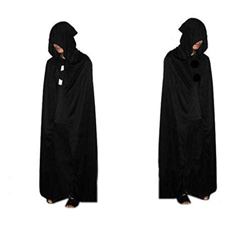 ICSTH Wizard Witch Costume Satin Cape Double Layers Holloween Party Grim Reaper Costume Cloak (L, Black)