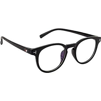 Crazywinks Raised Oval Glasses Spectacle Frames for Men Women Boys Girls (Clear/Transparent Lens)