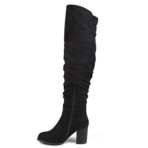 Brinley Co Womens Regular Wide Calf and Extra Wide Calf Ruched Stacked Heel Faux Suede Over-The-Knee Boots Black znmKcNf