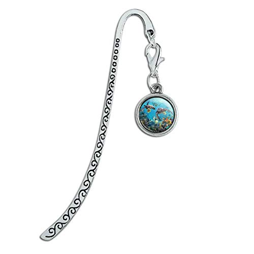 Ocean Coral Reef Sea Turtles Diving Metal Bookmark Page Marker with Charm