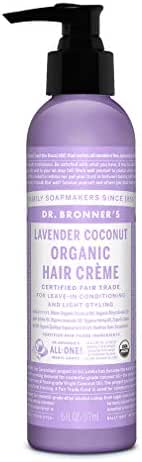 Dr. Bronner's - Organic Hair Crème (Lavender Coconut, 6 Ounce) - Leave-In Conditioner and Styling Cream, Made with Organic Oils, Hair Cream Supports Shine and Strength, Nourishes Scalp, Non-GMO