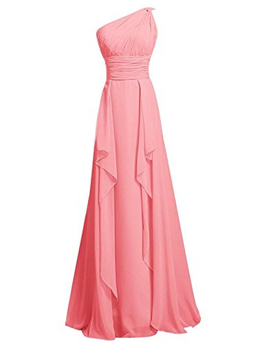 Train Floor Bridesmaid Dress Watermelon Prom Length Chiffon Dresses Shoulder Women's One Small wUqvXBB
