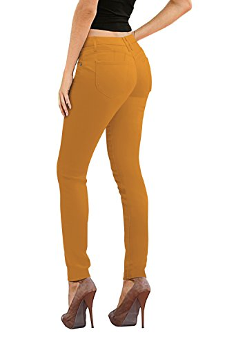 (Women's Butt Lift Stretch Denim Jeans-P37382SK-MUSTARD-3 )