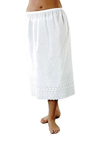 Slip Half Cotton (Undercover Women's La Marquise Cotton Waist Slip with Wide Italian Embroidery 20-22 (46-48) White)