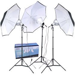 3-Umbrella Tungsten Lighting Kit (Lighting Photoflood Kit Studio)