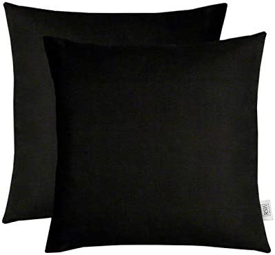 Set of 2 Indoor Outdoor Decorative Square Throw Pillows Made of Sunbrella Canvas Black 20″ x 20″