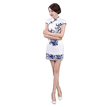 eb2450333eda ACVIP Cheongsam Cinese Stile a Fiori Blu Stampa Vestito da Mini Blu e Bianco   Amazon.it  Abbigliamento