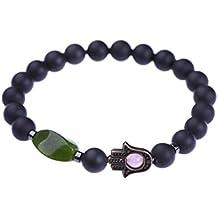Charm Bracelet - Hamsa Hand - Evil Eye Protection Amulet - Stretch 8mm Beads Bangle Talisman - Trendy Genuine Gemstones Jewelry