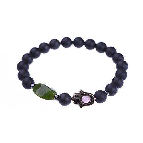 TamLyn Concepts Beaded Bracelets for Women - Evil Eye - Onyx Charm Bracelet - Talisman - 8mm Beads