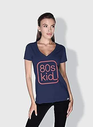 Creo 80S Kid Trendy T-Shirts For Women - M, Blue