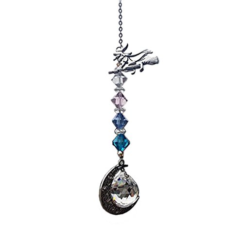 Waltz&F Crystal Suncatcher Pendant with Witch Figurines and Crystal Ball Rainbow -