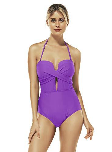 Reteron Women's Petite Plus Size V Plunge High Waisted One Piece Swimsuit Monokini (Purple Hebe, XXL 16-18)