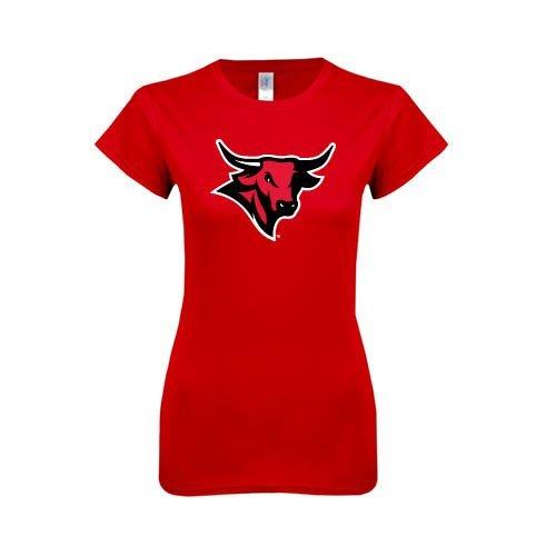 Nebraska Omaha Next Level Ladies SoftStyle Junior Fitted Red Tee 'Maverick Head'
