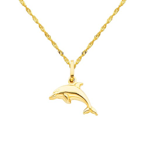 14k Yellow Gold Dolphin Charm Pendant with 1.2mm Singapore Chain Necklace - 16