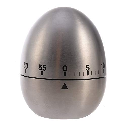 Timer, 1 Piece Kitchen Timer Manual Stainless Steel Egg Shaped Mechanical Rotating Alarm with 60 Minutes Count Down for Cooking