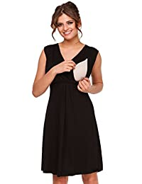 Happy Mama. Womens Maternity Nursing Skater Dress Sleeveless Layered Neck. 808p