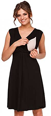 Happy Mama. Womens Maternity Nursing Skater Dress Sleeveless Layered Neck. 808p (Black, US 4, S)