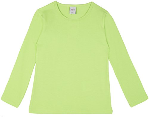 Lovetti Girls' Basic Long Sleeve Round Neck T-Shirt 3T Apple Green