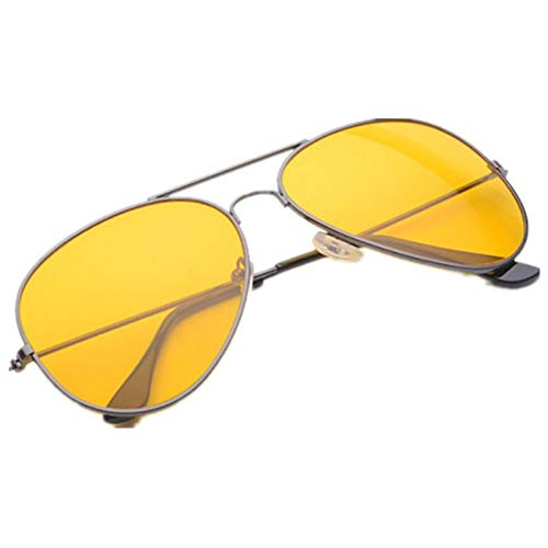 Night Vision Glasses for Driving/Shooting - Aviator Anti Glare Yellow HD Polarized Lens - Alleviate Eye Fatigue