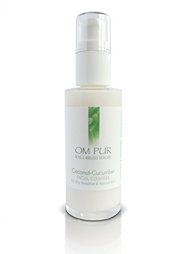 OM PUR Coconut Cucumber Facial Cleanser – Gentle Organic Daily Face Wash for Women and Men – Soothing, Calming, Anti Aging, Non Foaming, Pore Hydrating Cream for Dry, Normal, and Sensitive Skin