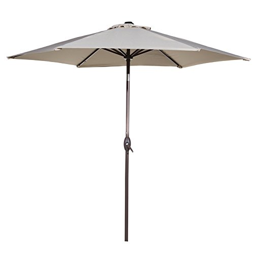 Abba Patio Ivory 9 Ft Market Outdoor Patio Table Aluminum Umbrella with Crank, Steel 6 Ribs and Wind Vent, 100% Polyester, 180gsm for Yard, Beach, Pool,Garden and Commercial Use (Patio Tables With Umbrella)