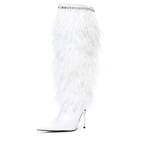 Jeffrey Campbell Fly 4 U Feather Wedding Boot White 7 by Jeffrey Campbell
