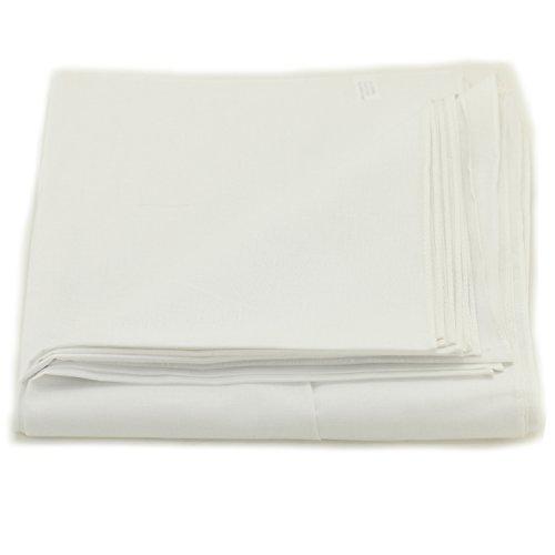 White Cotton Bandana - Solid One Dozen 100% Cotton Bandanas (White Plain, 22 X 22 in)