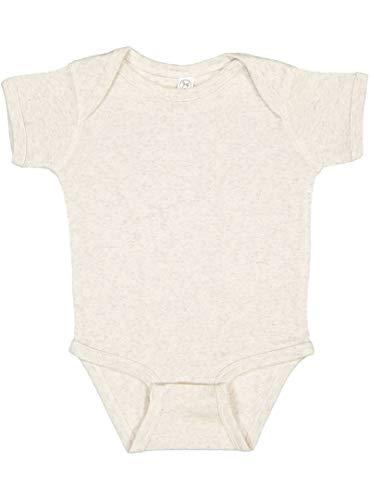 Rabbit Skins Infant 100% Cotton Baby Rib Lap Shoulder Short Sleeve Bodysuit (Natural Heather, 12 Months) -