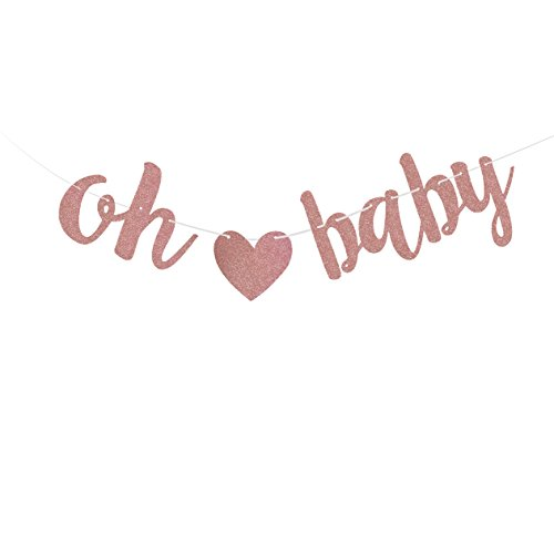 Fecedy Letters OH BABY With Heart Banner for Baby shower