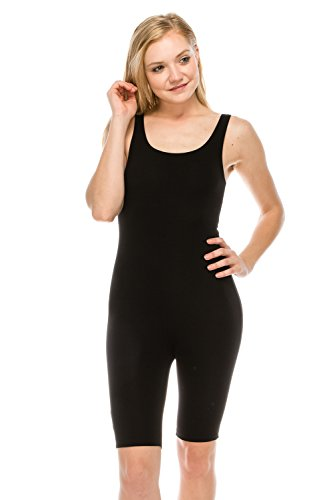 The Classic Womens Catsuit Cotton Stretch Knee Length Active One Piece Footed Jumpsuti (Small, Black)