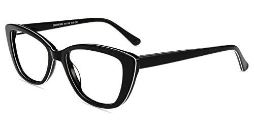Firmoo Blue Light Blocking Reading Glasses, Cat Eye Computer Readers, Vintage Acetate Eyeglasses Frame for Women (Black-White)