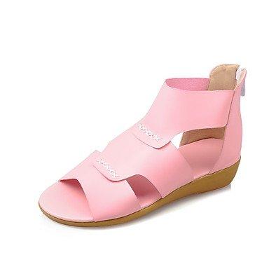LvYuan Tacón Plano-Confort Suelas con luz-Sandalias-Exterior Informal Vestido-PU-Azul Rosa Beige Pink