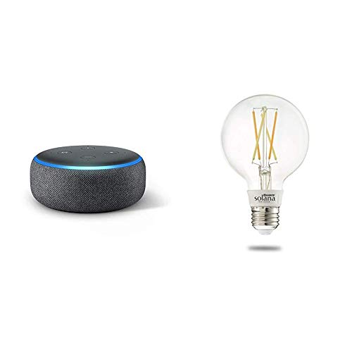 Echo Dot (3rd Generation) – Charcoal with 1 Bulbrite Solana SMART LED Filament WiFi Globe Smart Bulb