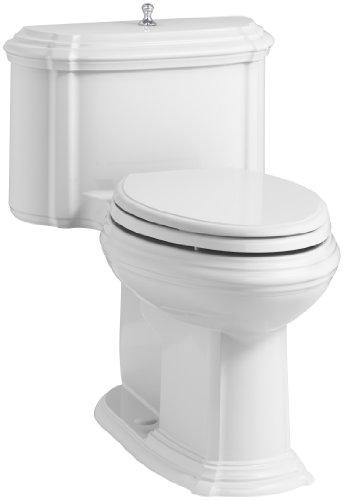 KOHLER K-3826-0 Portrait Comfort Height Compact Elongated 1.28 GPF Toilet with Aqua Piston Flush Technology and Lift Knob Actuator, ()