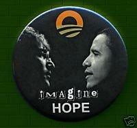 - Barack Obama - John Lennon IMAGINE HOPE BUTTONS PINBACKS