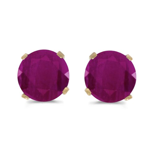 - 1 Carat Total Weight Natural Round Ruby Stud Earrings Set in 14k Yellow Gold
