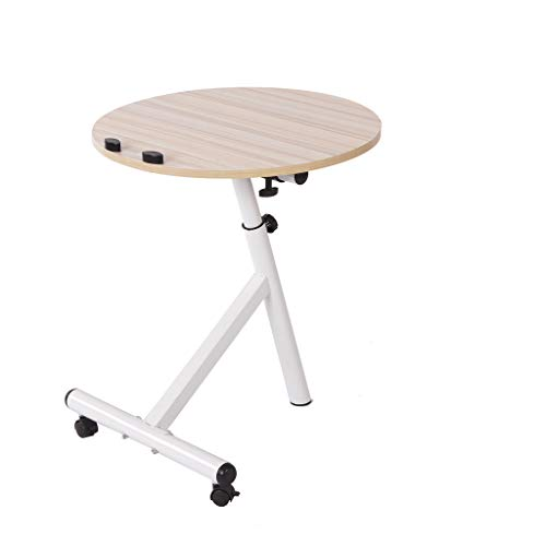 Harmony Round Side Table - Cgeolhni Study Desk Laptop Table Adjustable Lazy Small Side Coffee Table Computer Table (White)