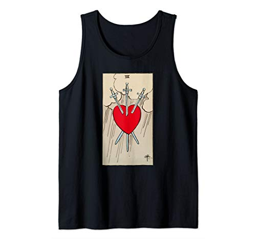Three of Swords Vintage Tarot Card Heart  Tank Top