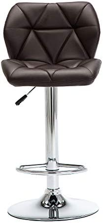 GOTMINSI Modern PU Leather Bar Stools Set of 2, Height Adjustable Swivel Bar Chairs, Square Counter Height Stools with Back and upholstered seat. Brown